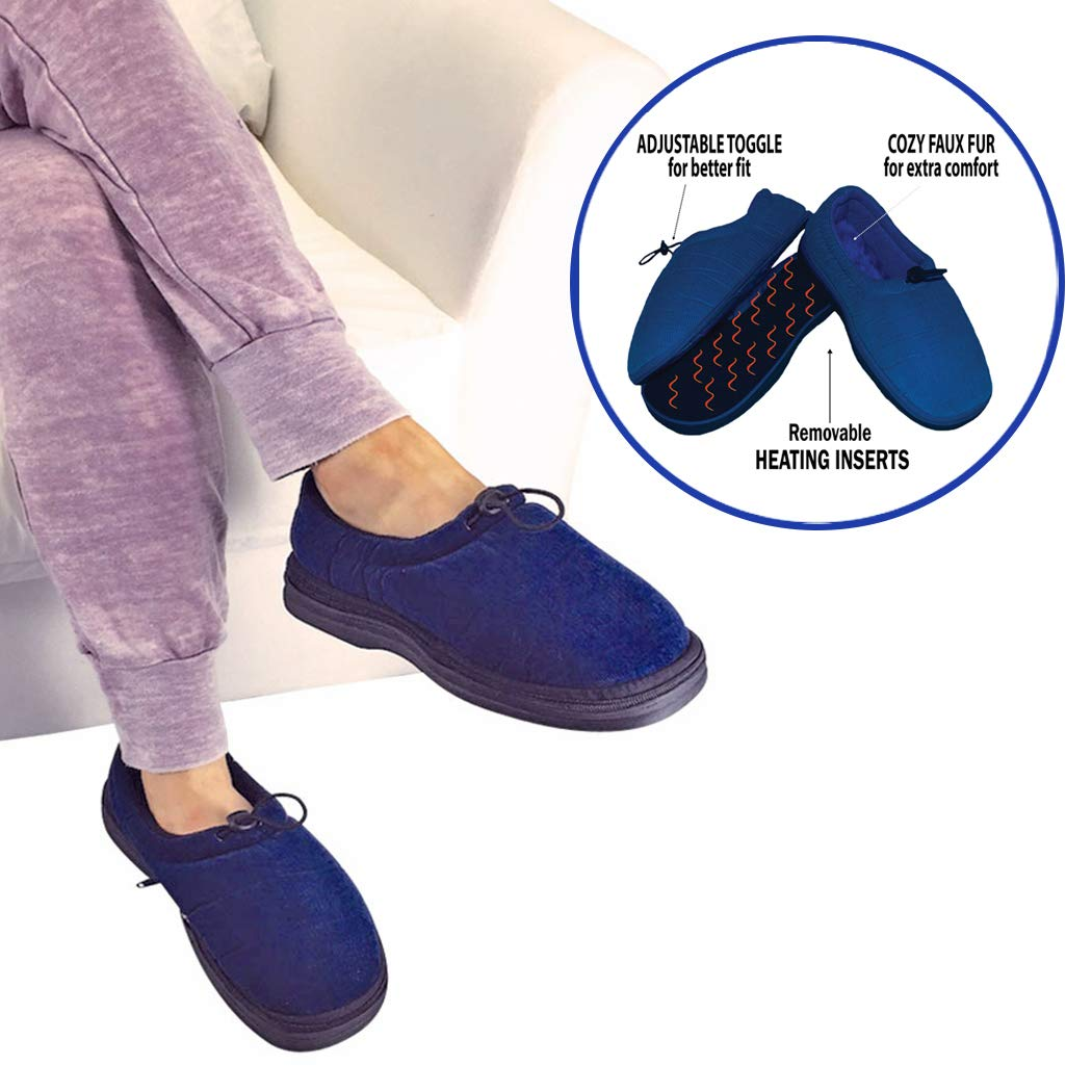 Thermo Shoes Microwavable Heating Pad by Nature Creation- Microwave Heated Foot Warmers for Men and Women - Perfect Heat Therapy Slippers for Cold Feet, Foot Pain, Sore or Tired Feet (Blue Large)