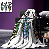 smallbeefly African Woman Digital Printing Blanket Religious Dance Performed by African Women in Traditional Ethnic Dresses Summer Quilt Comforter Multicolor
