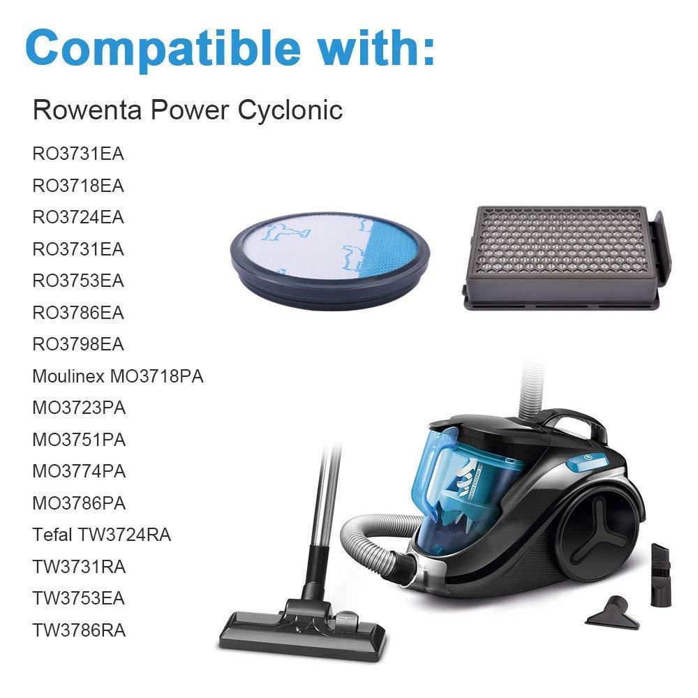 Paquete de 2 RO3786EA // Moulinex//Tefal Compact Isincer Filtros HEPA Rowenta Cyclonic Power Series RO3753EA Comparar ZR005901 RO3731EA