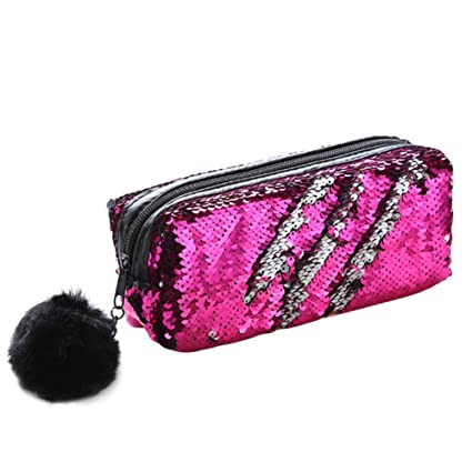 9fc4422bcdc5 Fancyku Fashion Reversible Mermaid Sequin Hairball Pencil Case Cute Pencil  Box Glitter Pencil Cases Flip Sequin Coin Purse Makeup Bag BTS Stationery  ...