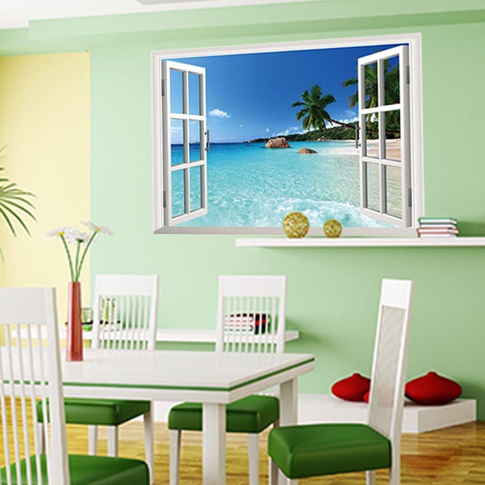 Skyllc® grande rimovibile spiaggia mare window vista 3d scenery ...