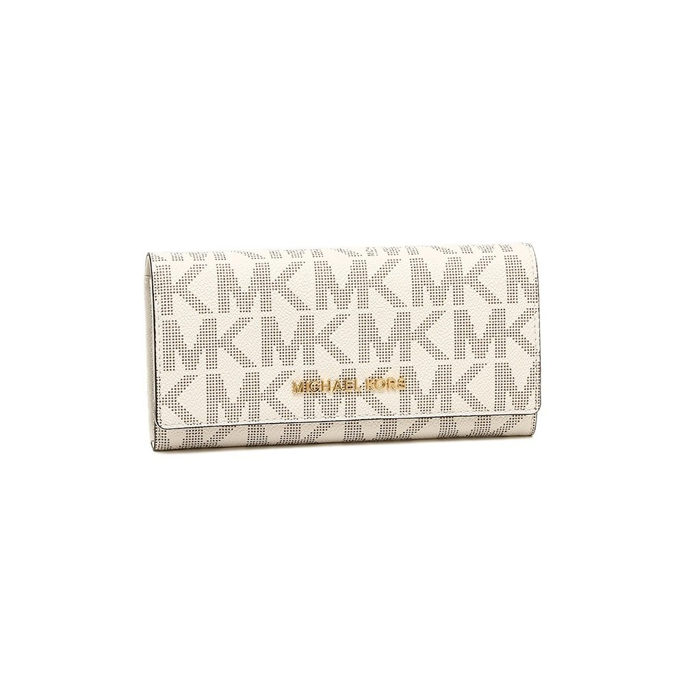 Michael Kors Womens Jet Set Travel Carryall Large Saffiano Leather Wallet Vanilla