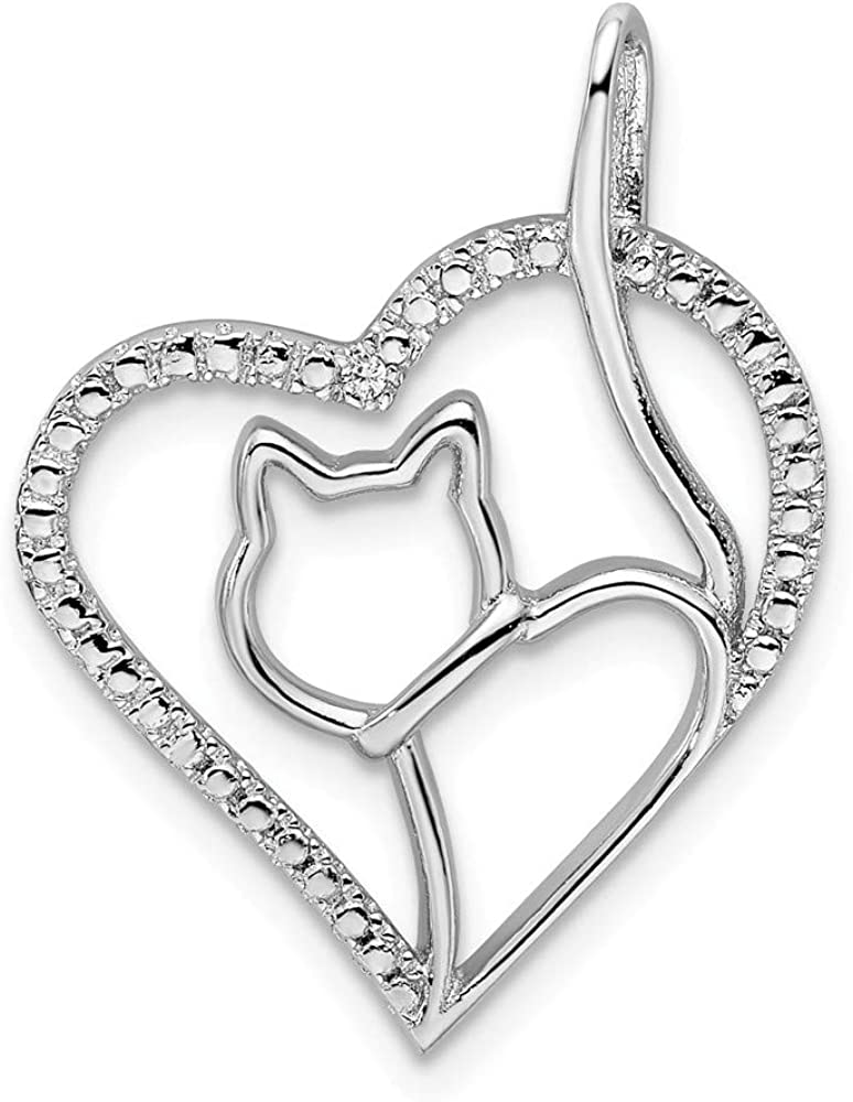 Sterling Silver Themed Jewelry Pendants /& Charms Nickel Free 19.6 mm 24.25 mm CZ Heart Cat Silhouette Pendant