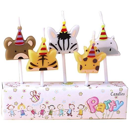 JUSTDOLIFE 5PCS Vela De Cumpleaños Lindo Animal De Dibujos ...