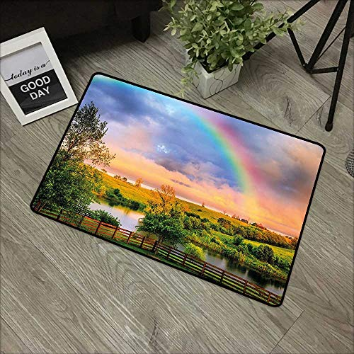 (Outdoor Door mat W35 x L47 INCH Rainbow,Kentucky Countyside with Lively Green Pastures River and a Rainbow,Hunter Green Multicolor with Non-Slip Backing Door Mat Carpet)