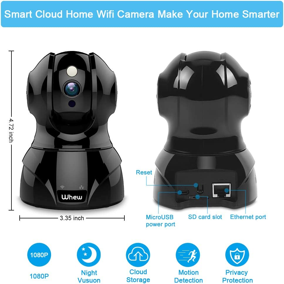 Motion Detection Night Vision Baby Monitor Nanny Camera Pet Camera with 2-Way Audio Cloud Storage Wireless Home Security Camera Whew 1080P WiFi IP Camera Compatible with Alexa