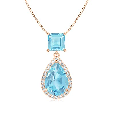 Angara Square Swiss Blue Topaz Necklace with Diamond Halo in 14K Rose Gold 4llgrjZ