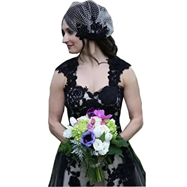 Dingdingmail Cap Sleeves Black And White Prom Dress High Low Lace