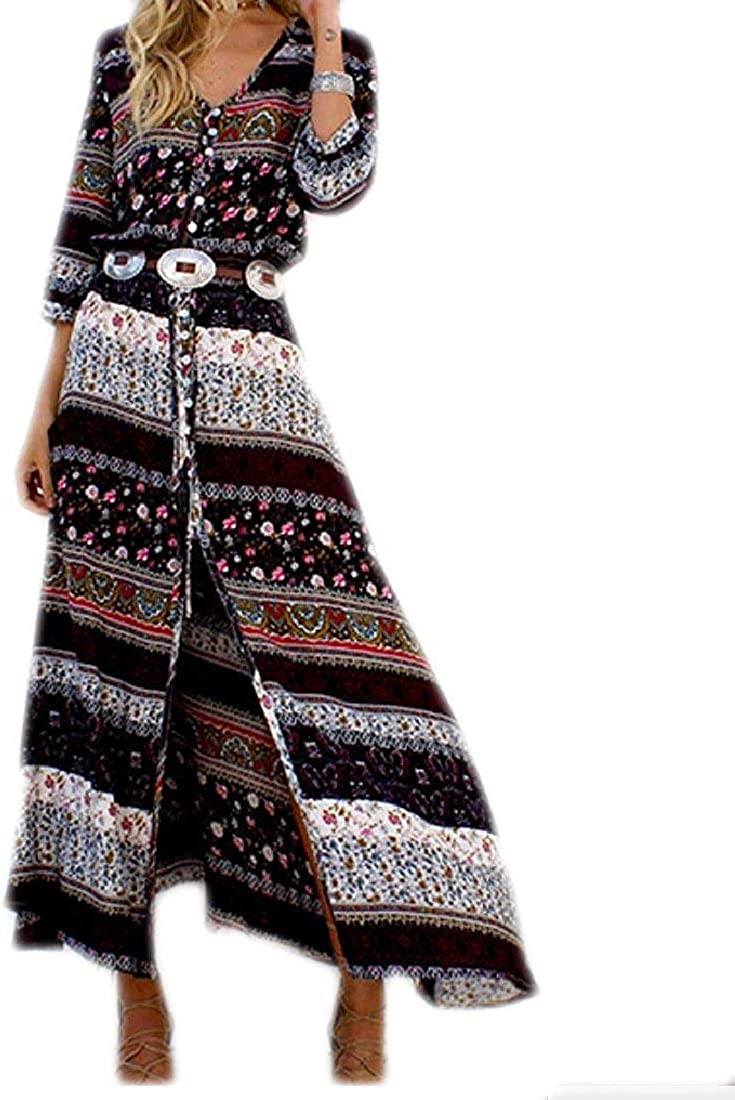 Hadudu Women Long Dress Bohemian Swing Beach Wear Dress