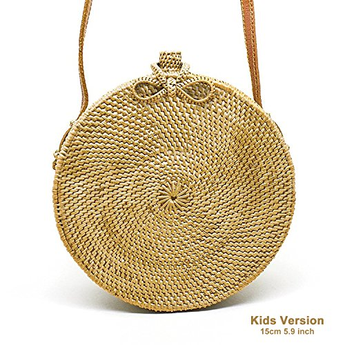 JavaCrafts Handwoven Rattan Bag Round Tropical Beach Style Crossbody Bag (Star Woven (Celebrity Style Handbag Bag)