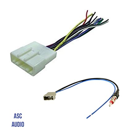 amazon com asc audio car stereo radio wire harness and antenna rh amazon com car stereo aftermarket radio wiring harness install adapter for bose system sony car stereo wiring harness adapter