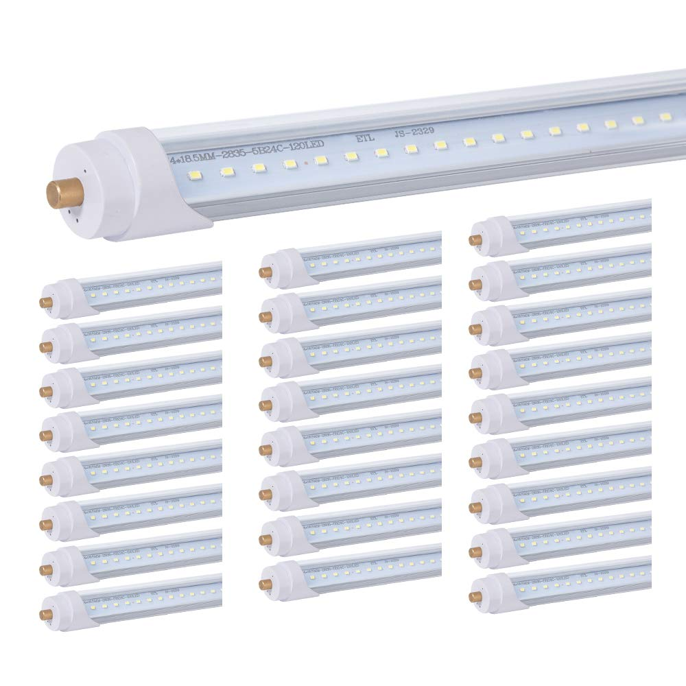 8ft T8 LED Bulbs, ETL 40W LED Tube (100W Equivalent), 4000 Lumens, 6000K Cool White, Ballast Bypass,100-277Volts Input, Clear Cover, Replace T8 T10 T12 Fluorescent Light Tube(25Pack)