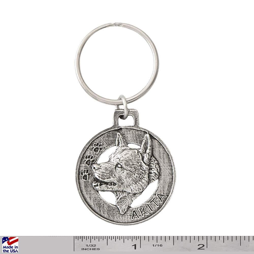 Amrican Akita Inu Dog Pewter Key Chain Key Fob Key Ring Gift D004KC