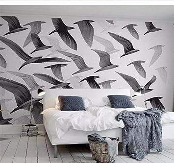 3D papel tapiz moda boceto pájaro blanco y negro Nordic TV fondo ...