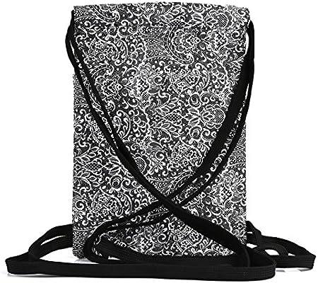 248a313ccf46 Black Paisley Printed Drawstring Backpack bag Cute Cool Travel Backpack  Boho Gypsy Festival Printed Drawstring bag