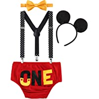 Cake Smash Outfit Baby Boys 1st Birthday Party Costume Newborn Infant Toddler Bloomers Shorts Pants + Adjustable Y Back…