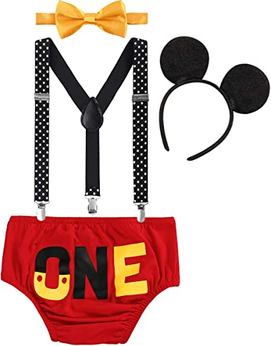 Cake Smash Outfits Fancy Dress up Costume for Baby Boy 2nd Birthday Mickey Mouse