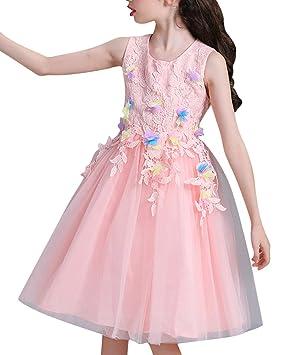 Niña Flor Vestido Elegante Boda Fiesta Princesa Disfraz Bautizo Vestidos De Boda Pink para 2-