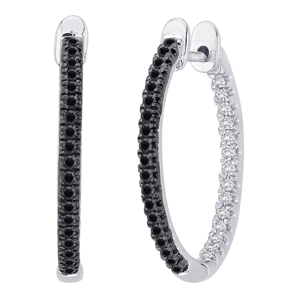 Black and White Diamond ''In and Out'' Hoop Earrings in Sterling Silver ( 1/3 cttw)