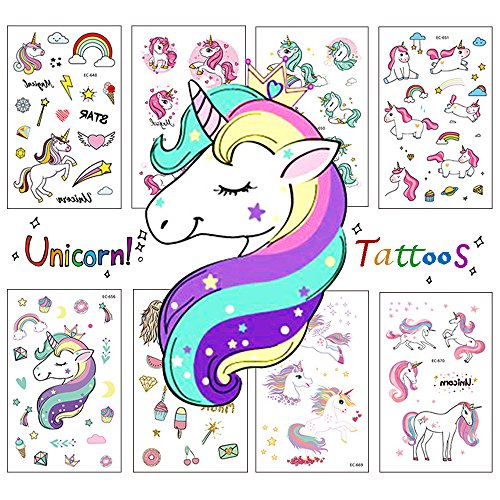 Zehhe Pack of 16 Sheets Unicorn Temporary Removable Tattoos for Kids Girls Boys Birthday Party, Unicorn Party Supplies Party Favors - Non Toxic FDA Approved Colorants (Unicorn Tattoos) -