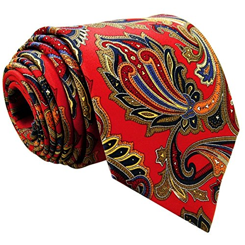 Shlax & Wing Men's Acceossories Necktie Printed Ties Red Paisley Silk Brand (Red Paisley Necktie)