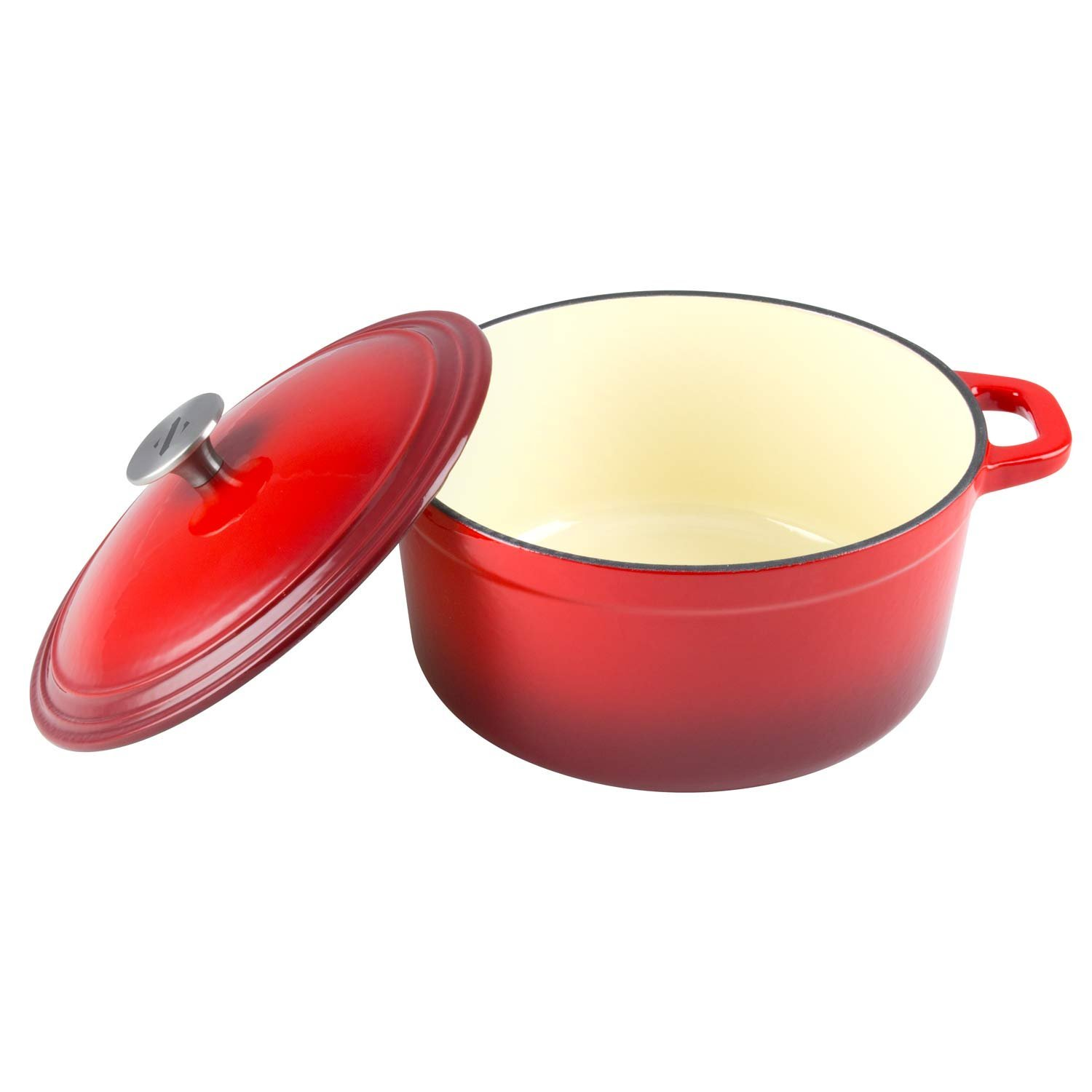 Zelancio Cookware 6 Quart Enameled Cast Iron Dutch Oven Cooking Dish with Self-Basting Lid, Red