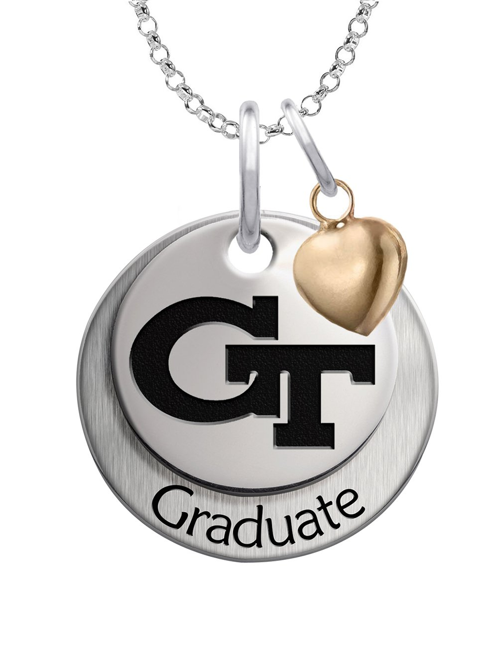 Georgia Tech Yellow Jackets GRADUATION Necklace Sterling Silver Stacked Charm with Heart Accent