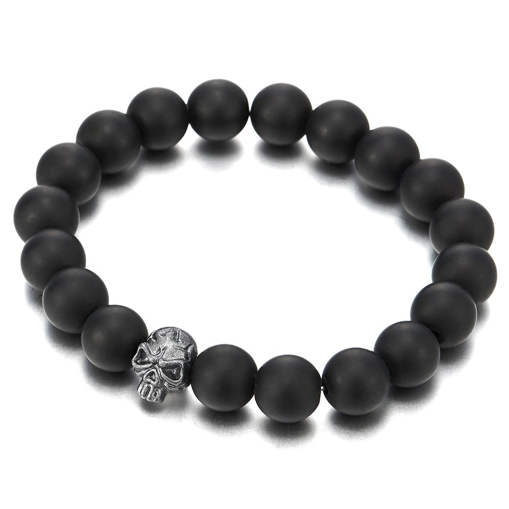Gothic Style Mens 10MM Matt Black Onyx Beads Bracelet with Dark Grey Skull Charm, Stretchable COOLSTEELANDBEYOND MB-1195-CA