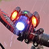 Evursua Super Bright Bike Front Light Rechargeable,Bicycle Headlight with 2 side Alarm Lights,Rotating Brightness Headlamp,4 Modes,Waterproof IPX6 (Black/Blue)
