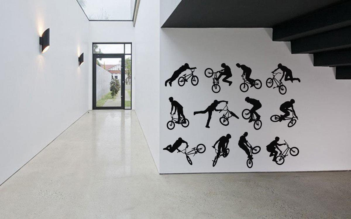 AratikDesigns Removable Vinyl Sticker Mural Decal Wall Decor Poster Art Quote Extreme Tricks Sport Boy Girl Set Playroom Bedroom Mountain Bike Bicycle Jump BMX Ride Wheel Pedal Seat SA512