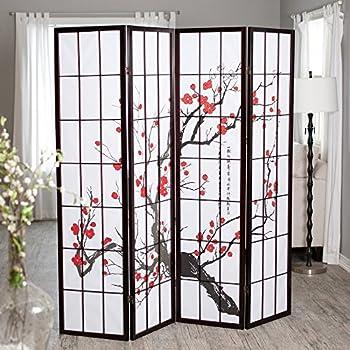 Roundhill Furniture Black Japanese  Panel Screen Room Divider Plum Blossom