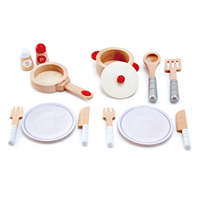 Hape Cook & Serve Set | 13 Piece Wooden Pretend Play Cooking Set with Accessories: Toys & Games