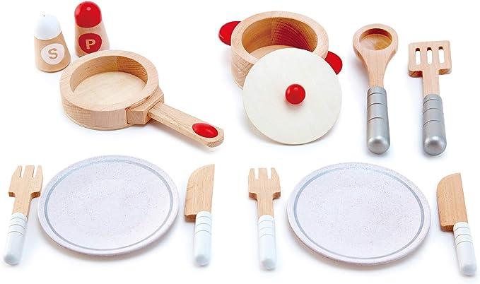 HapeCook & Serve Set|13 Piece Wooden Pretend Play Cooking Set with Accessories