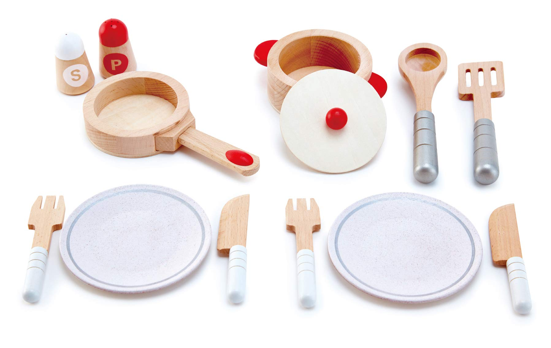 Hape Cook & Serve Set | 13 Piece Wooden Pretend Play Cooking Set with Accessories by Hape