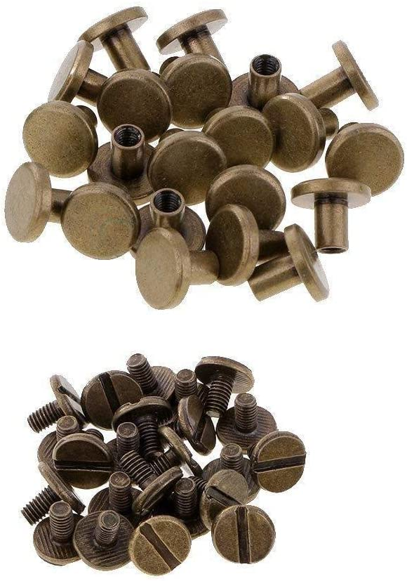 Durable Brass 9mm x 6mm 50pcs Weddecor Chicago Screw Rivets for Book Binding Arts Leather-crafts Handicrafts DIY Decoration with Flat Head Anti Resistant Bronze