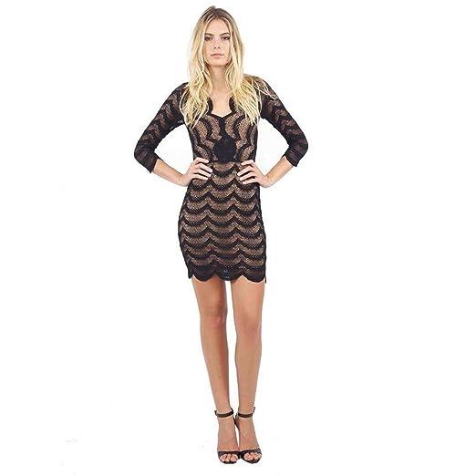 ca2d58b05883 Amazon.com  Nightcap Womens Fiesta Lace Deep V Dress Black 1