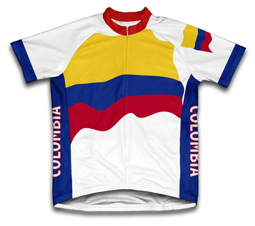 Colombie Drapeau à manches courtes Maillot de cyclisme pour femme Large Blanc - blanc   B00EDKQKFC