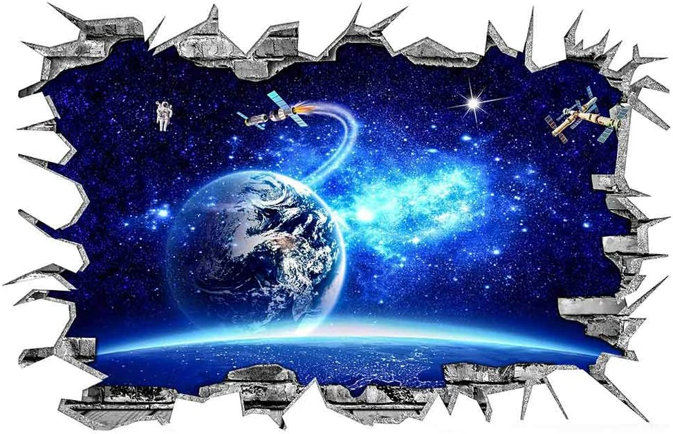 3D Blue Cosmic Galaxy Earth Satellites Wall Decals Magic Milky Way Outer Space Planet Broken Wall Stickers Murals Decor for Home Floor Ceiling Boy Girls Room Kids Bedroom