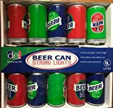 Fun Beer Can Novelty Patio Porch Lights ~ 8.5ft Long ~ End to End Connection ~ UL Listed Power Supply
