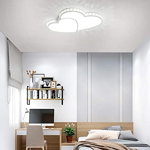 Ceiling Light LED Bedroom Lamp Modern Flush Mount Fixtures Chic Love Design Chandelier Metal Acrylic Shade Nursery Girl s Room Chandelier Hallway Youth Room Decorative Hanging Lamps White Light