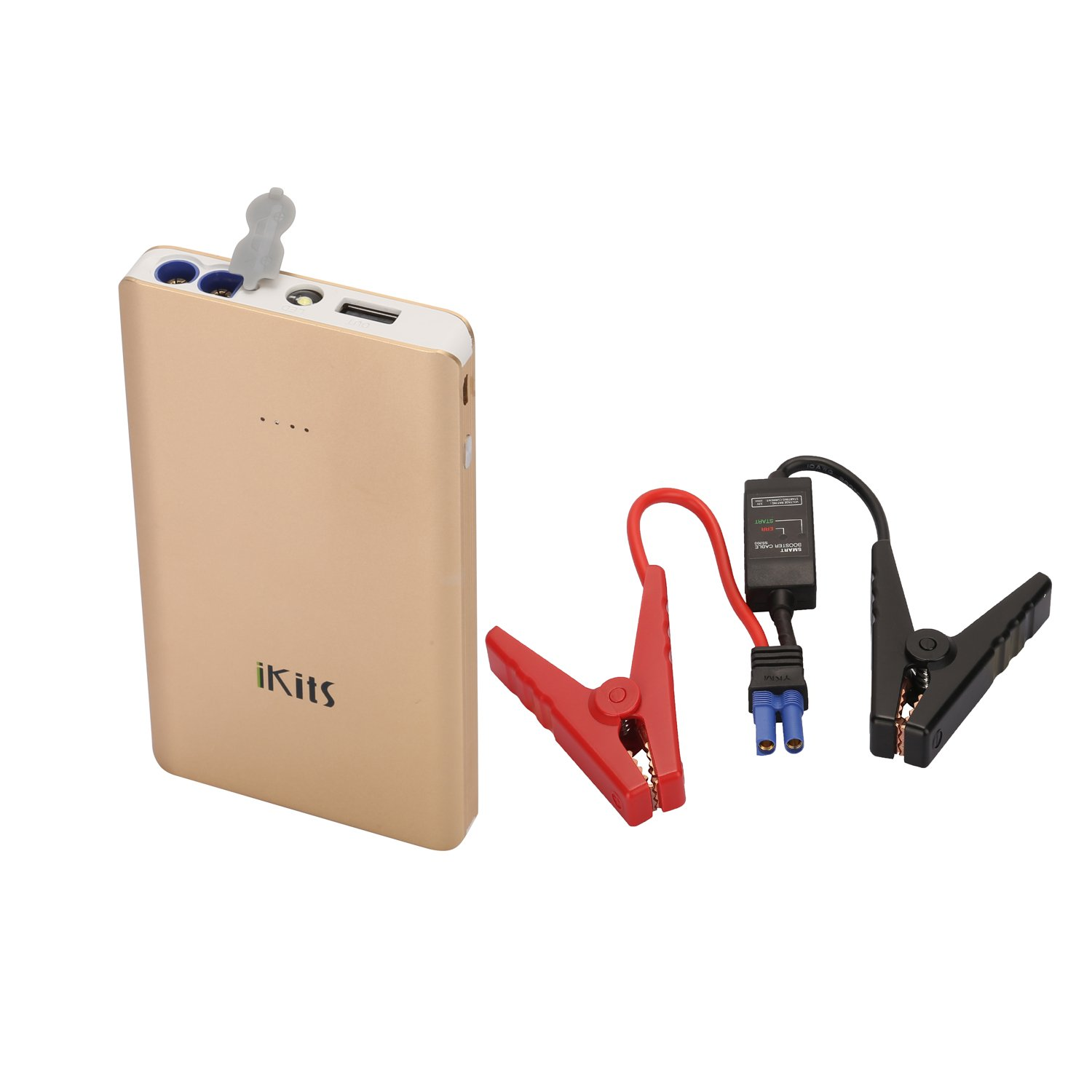 Ikits (Ce/Fcc Verified) 5V/2A + 400A Peak 5400Mah Portable Car Jump Starter C.. 18