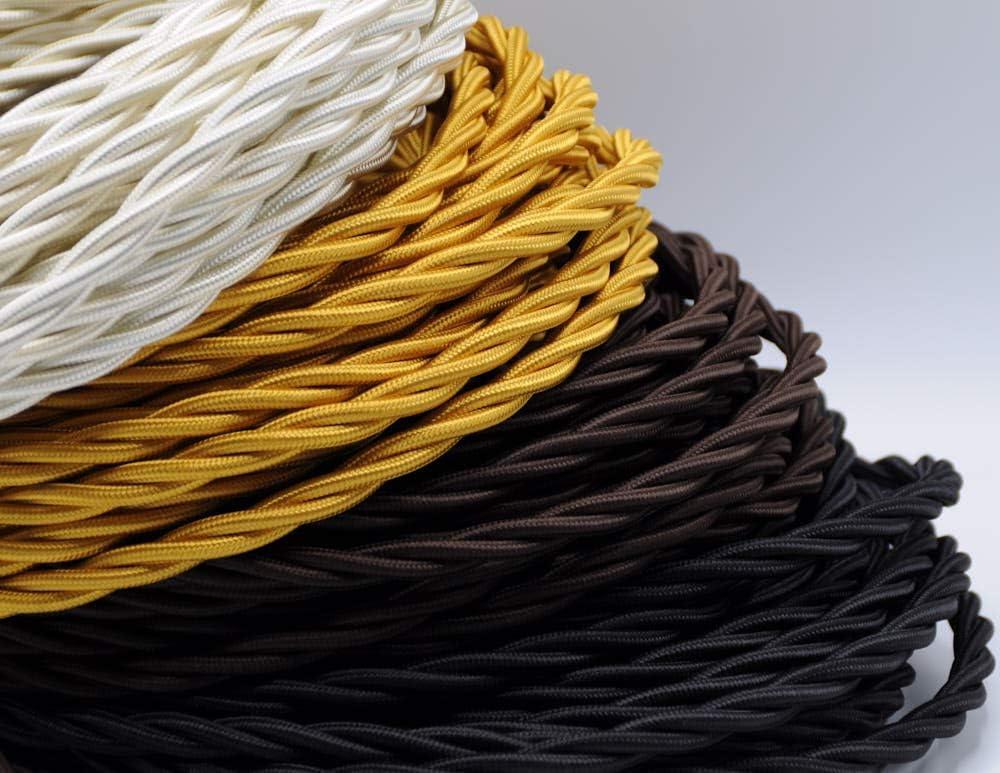 5 m 3 x 1,5 mm ivoire C/âble textile tress/é BELLE /ÉPOQUE pour installation /électrique vintage Klartext