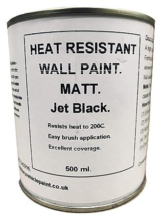 1 x 500 Mls Matt Negro pintura resistente al calor. Madera estufa de alcoba.