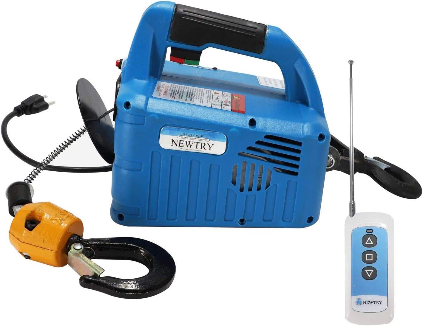 Newtry Grúa eléctrica de elevación de 220 libras, 220 V, 25 m, 1500 W, control remoto inalámbrico, elevador eléctrico con protección de sobrecarga