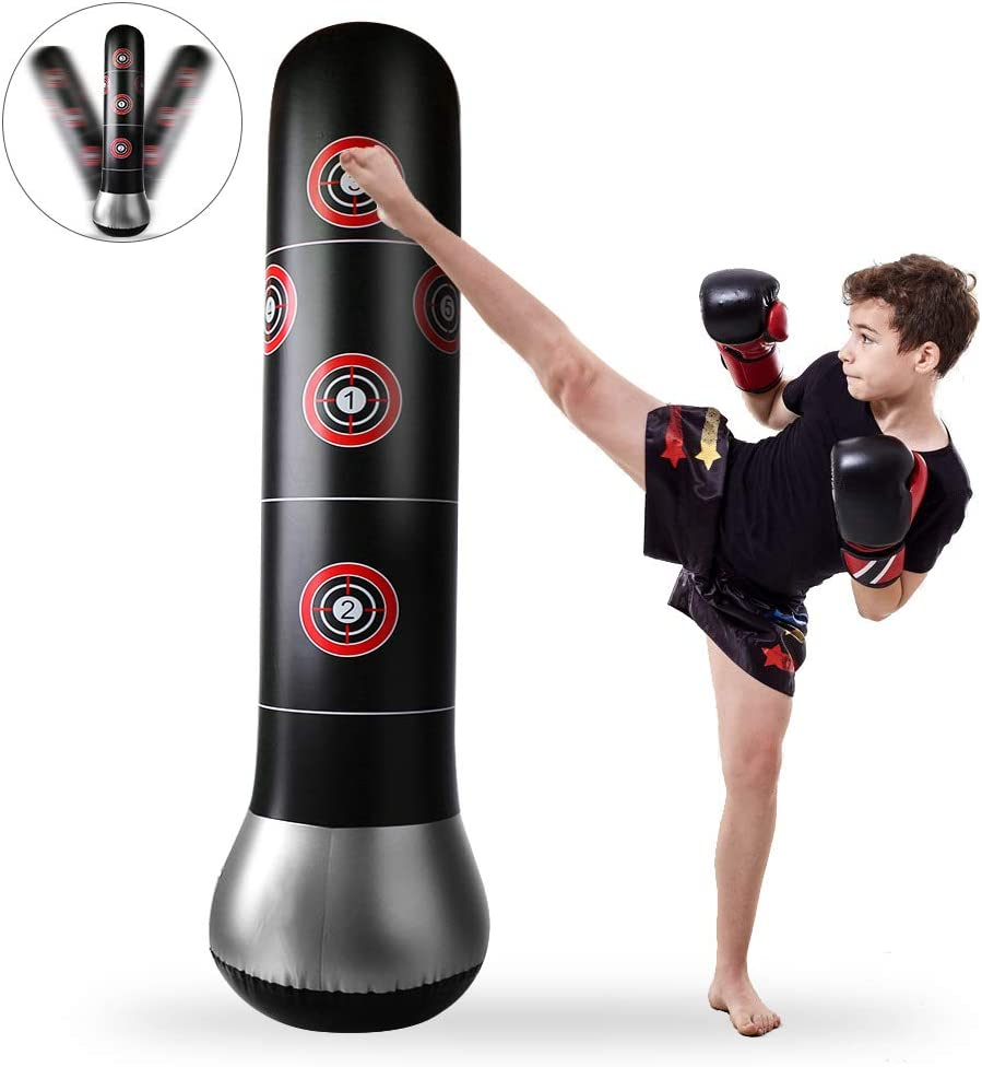 Inflatable Boxing Punching Bag for Toddlers USHMA 68 inches Tall Free-Standing Kids Punching Bag Bop Bag for Boys and Girls Fitness Punching Bag for Children Exercise and Energy Relief