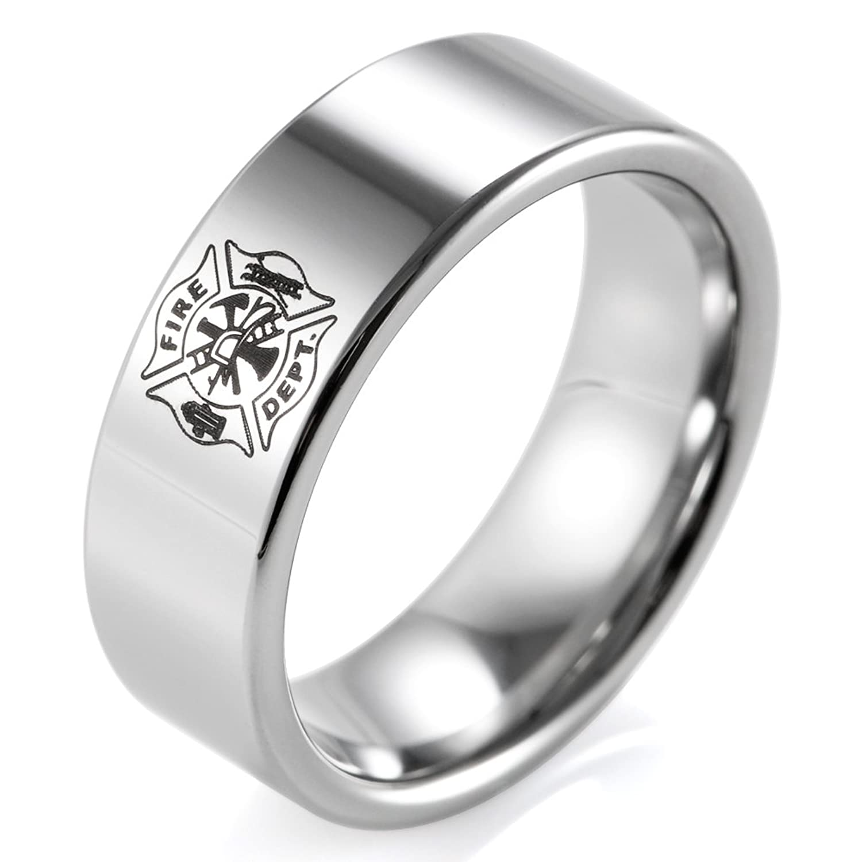 SHARDON Men's 8mm Flat Tungsten Ring with Engraved Fire Department Logo