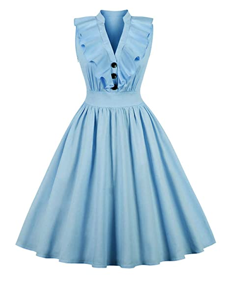 efb1e9cdad ZAFUL Women's 1950s Cap Sleeve Swing Vintage Party Cocktail Dress Lapel  Collar Button Flared Dress Multi