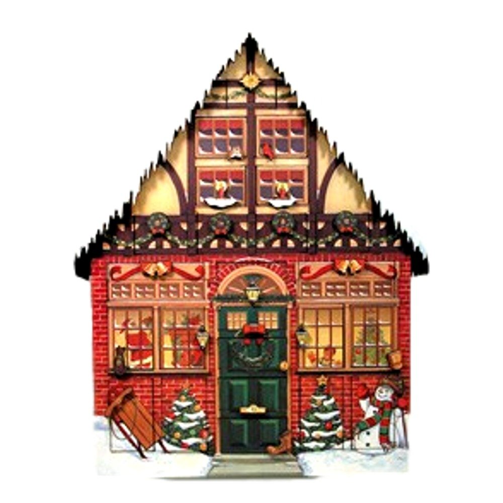 Byers Choice Christmas House Wood Advent Calendar 24 numbered doors behind which small surprises can be hidden for each day