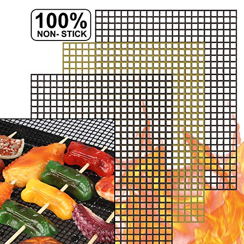 E&g Stainless Steel Mesh Grill - accmor BBQ Grill Mesh Mat Set of 3, Non-Stick Teflon Cooking Grilling Sheet Liner Fish Vegetable Smoker Grill Mats - Works on Gas, Charcoal, Electric Barbecue 15.75x13inch(2 Black+ 1 Copper)