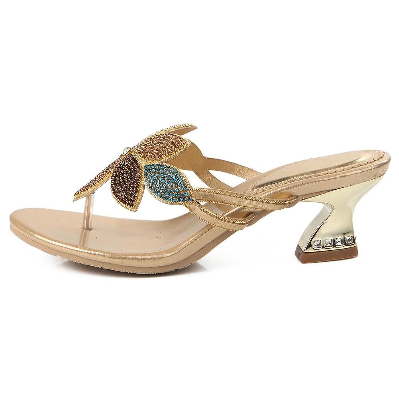 SYYAN Damen PU Strasssteine Blumen Offener Zeh Handgemacht Sandalen  Hausschuhe Gold: Amazon.de: Schuhe & Handtaschen
